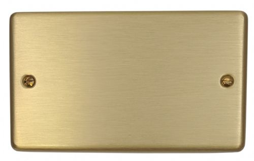 G&H CSB32 Standard Plate Satin Brushed Brass 2 Gang Double Blank Plate